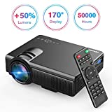 TENKER Upgrade Lumens Q5 Mini Projector, with Big Display LED Full HD Video Projector, Compatible with 1080P HDMI, Fire TV Stick, VGA, USB, AV for Home Theater Entertainment, Party and Games (Gary)