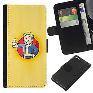 KLONGSHOP // Tirón de la caja Cartera de cuero con ranuras para tarjetas - Bóveda Boy Póster - Apple Iphone 5C //