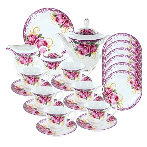Deluxe Porcelain Tea Set - Ringlet of Roses Deluxe Porcelain Tea Set
