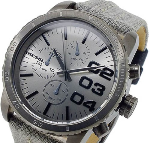 Chronograph Stainless Steel Case Leather and Nylon Strap Silver Tone Dial by Diesel