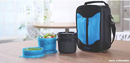 3d15df0a6fc1 Image Unavailable. Image not available for. Colour  KVG Plastic Tupperware  Executive Lunch Box Set with Insulated Bag