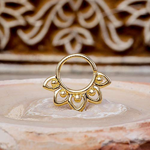 22 Carat Gold Jewelry - Unique Lotus Septum Ring, Gold Indian Style Nose Jewelry, 18g, Fits Cartilage, Rook, Daith, Nipple, Tragus Piercing, Helix Earring, Handmade