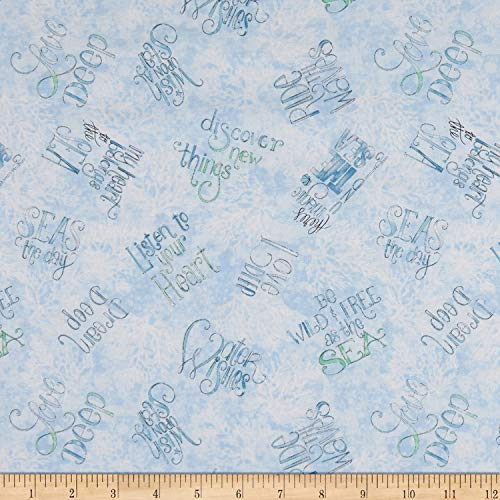 Wilmington Prints Water Wishes Words Allover Blue Fabric Fabric by the Yard