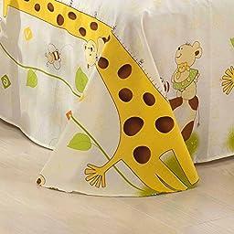 MeMoreCool Home Textile Kids Environmental Reactive Printing 100% Cotton 4 Pieces Giraffe Bedding Set Cute Cartoon Giraffe Design Boys and Girls Duvet Covers Soft Bed Sheets Full Size