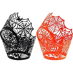 Boao 100 Pieces Spiderweb Cupcake Wrappers Laser Cut Cupcake Liners for Halloween Party Wedding Birthday Muffin Decoration (Black, Orange)