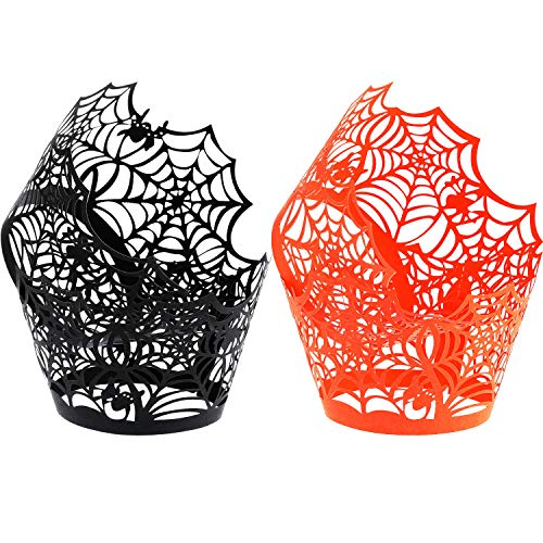(Boao 100 Pieces Spiderweb Cupcake Wrappers Laser Cut Cupcake Liners for Halloween Party Wedding Birthday Muffin Decoration (Black,)