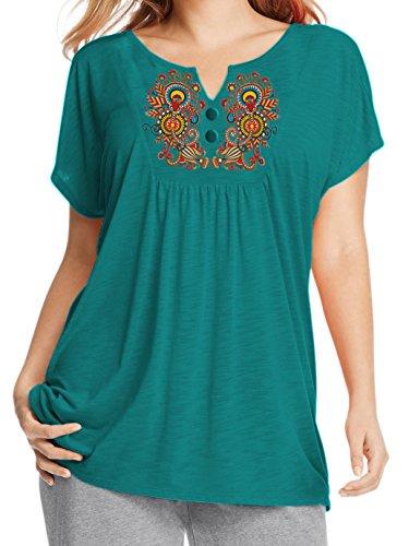 Silk Tunic Traditional Embroidered Motif (Sea Green, 1X) ()