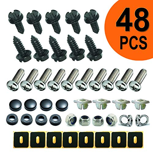 Stainless Steel License Plate Screws - Black Anti-Rust Car Board Fasteners for Locking License Plates, Frame, Hood and Black Screw Cover