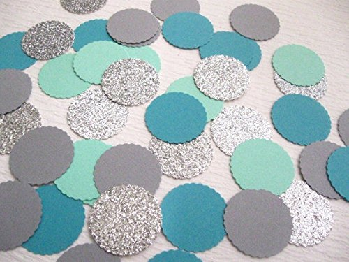 Designs by DH Confetti 100 pieces Paper Scalloped Circles Silver Grey Blue Baby Shower Gender Reveal Ocean Under the Sea Birthday Wedding Party Decor