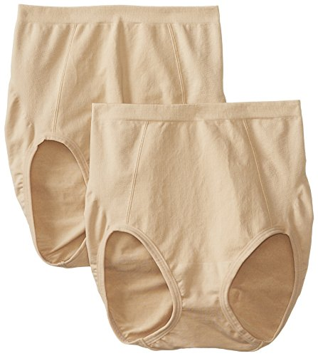(Bali Women's Shapewear Seamless Brief Ultra Control 2-Pack, Nude, 2X)