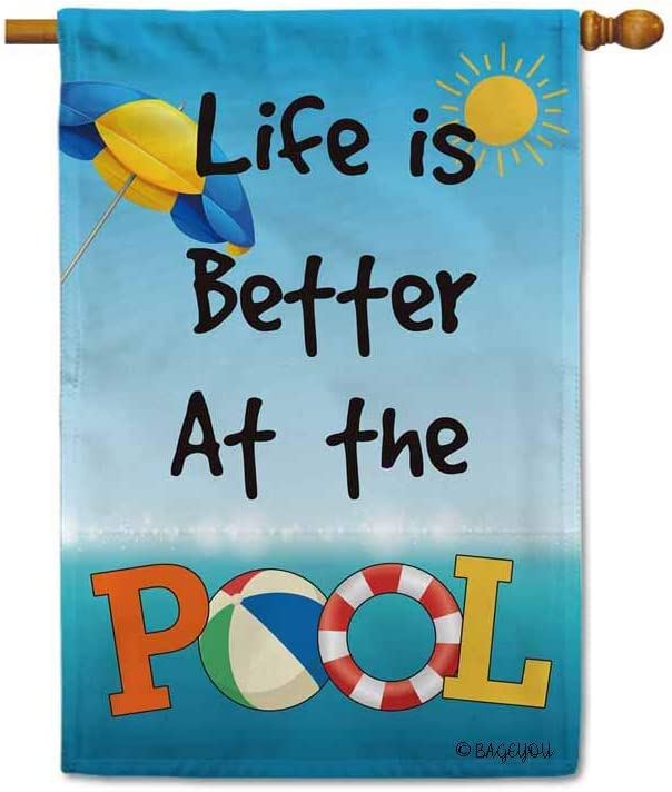 BAGEYOU Life is Better at The Pool Summer House Flag Beach Volleyball Sun Umbrella Lifebuoy Decor Banner for Outdoor 28x40 Inch Printed Double Sided
