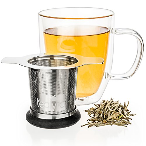 Tealyra - brewiTEA - Brew-In-Mug Tea Infuser Mesh Strainer with Metal Dish - Large Capacity and Perfect Size for Hanging on Teapots - Mugs - Cups - To Steep Loose Leaf Tea and Coffee by Tealyra (Image #4)