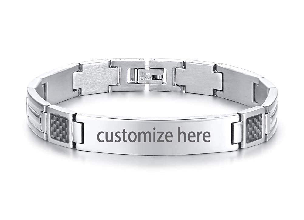 PJ JEWELLERY Personalised Custom Engrave Stainless Steel Chain Link Carbon Fiber Inlay Identification ID Bracelets for Men
