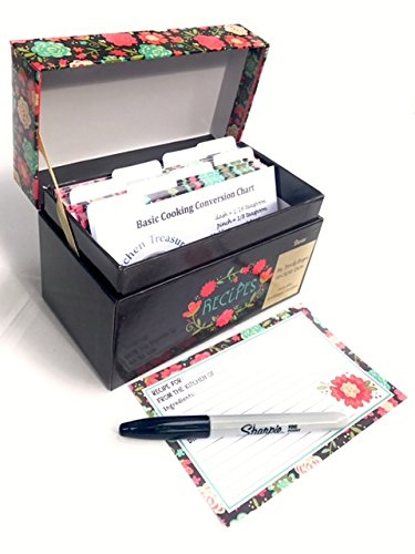 91 Piece Recipe Box and Card Bundle Set The Perfect Recipe Card Holder. Happy Day Floral