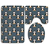 HOMESTORES Cute Funny Animal Penguin Bath Mat Bathroom Carpet Rug Washable Non-Slip 3 Piece Bathroom Mat Set