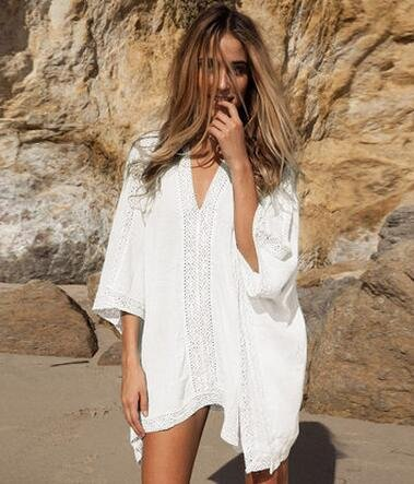 Los bordados de la playa bikini de abrigo de manga larga blusa camisa vestir ropa de protección de trajes de baño de playa de la isla: Amazon.es: Deportes y ...