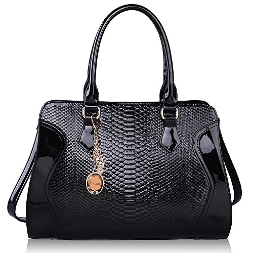 Leather And Patent Leather Tote Bag - 8