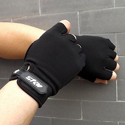 Sacow Men Antiskid Cycling Bike Gym Fitness Sports Half Finger Gloves (black, XL) by Sacow (Image #2)