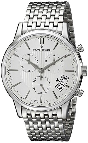 Claude Bernard Men's 01002 3M AIN Classic Chronograph Analog Display Swiss Quartz Silver Watch