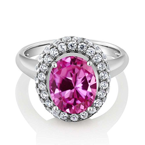 5.26 Ct Oval Pink Created Sapphire 925 Sterling Silver Ring (Available in size 5, 6, 7, 8, 9)