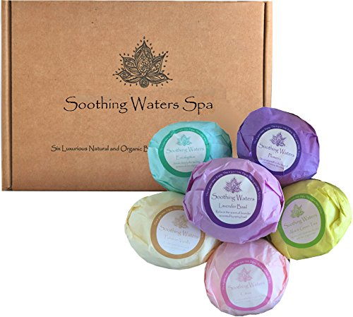 Organic & Natural Vegan USA Made Soothing Waters Spa Lush Bath Bomb Gift Set Kit with cocoa butter & essential oils. Best gift basket idea for women, teen girls, birthdays, Valentine's Day.