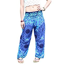 Amydong Yoga Pants, Men Women High Waist Yoga Pants Loose Thai Harem Trousers Boho Festival Hippy Smock Fitness Leggings (Free Size, Blue)