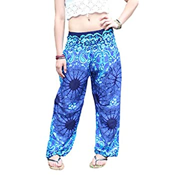 Amydong Yoga Pants, Men Women High Waist Yoga Pants Loose Thai Harem Trousers Boho Festival Hippy Smock Fitness Leggings (Free Size, Blue) 0