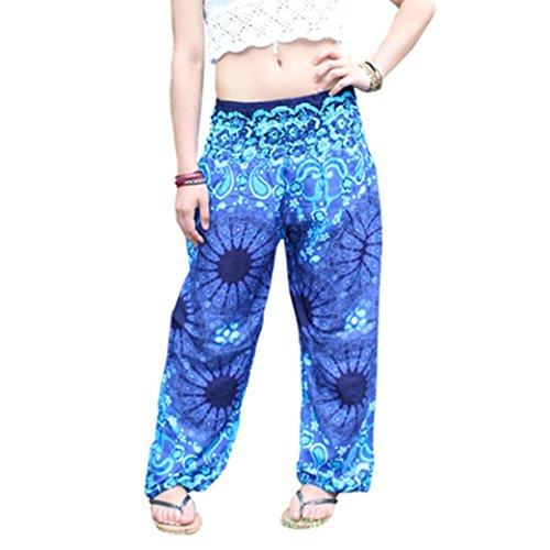 AmyDong Yoga Pants, Men Women High Waist Yoga Pants Loose Thai Harem Trousers Boho Festival Hippy Smock Fitness Leggings (Free Size, Blue) ()