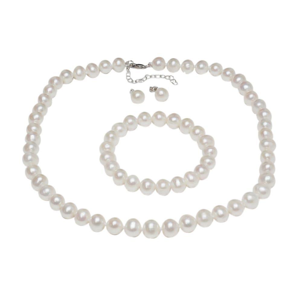 Gem Stone King 925 Sterling Silver Cultured Freshwater White Pearl Necklace Earrings Bracelet Bridal Gift Set