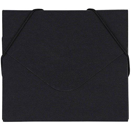 rtfolio with Elastic Closure - 5 x 5 5/8 x 3/8 - Black Kraft Recycled - Sold Individually ()