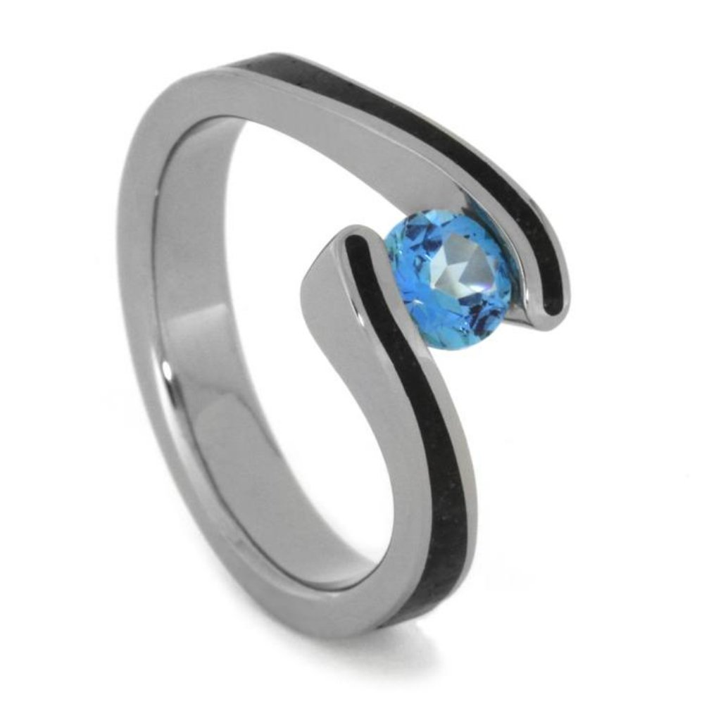 Blue Topaz 4mm Comfort-Fit Titanium Engagement and Wedding Ring Set, Size 12.5