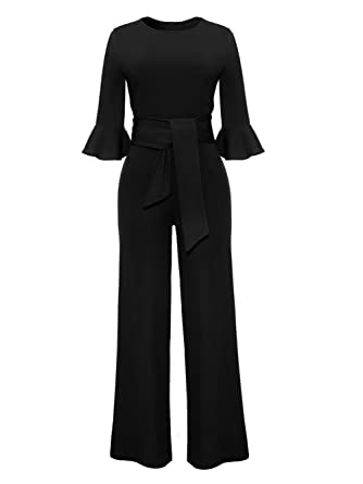 8f9a3cd64c2 Amazon.com  Molisry Women Solid Long Sleeve Wide Leg Long Jumpsuits Romper  Pants with Belt  Clothing