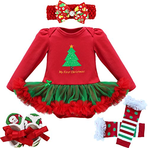 [iEFiEL Baby Girls Christmas Picture Skirt Bodysuit Headband Leg Warmer Shoes Set (6-9 Months, First] (Christmas Outfit)