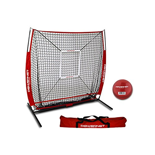 PowerNet 5x5 Practice Net + Strike Zone + Weighted Training Ball Bundle (Red) | Baseball Softball Coaching Aid | Compact Lightweight Ultra Portable | Team Color | Batting Screen ()