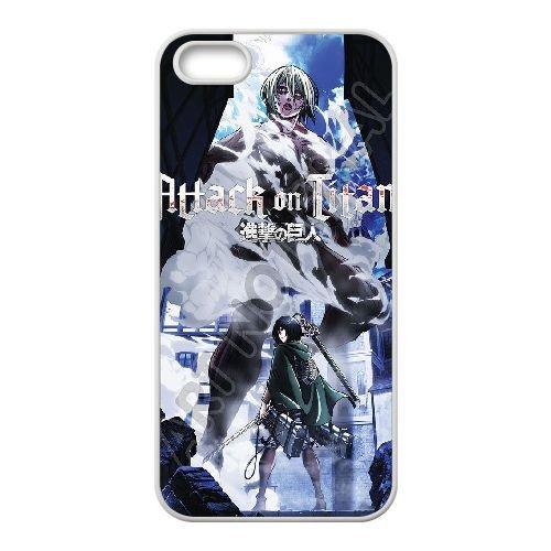 Attack On Titan coque iPhone 5 5S Housse Blanc téléphone portable couverture de cas coque EBDOBCKCO13927