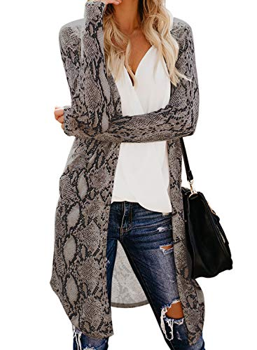Chase Secret Womens Long Sleeve Snake Print Lightweight Knit Ribbed Cardigans Outwear Jackets 2XL Multicolored