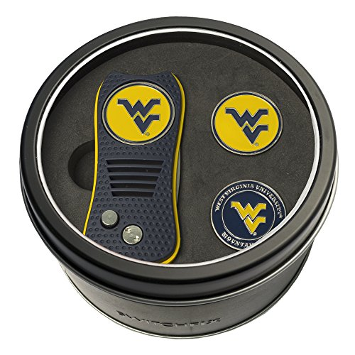 Team Golf NCAA West Virginia Mountaineers Gift Set Switchblade Divot Tool with 3 Double-Sided Magnetic Ball Markers, Patented Single Prong Design, Causes Less Damage to Greens, Switchblade Mechanism