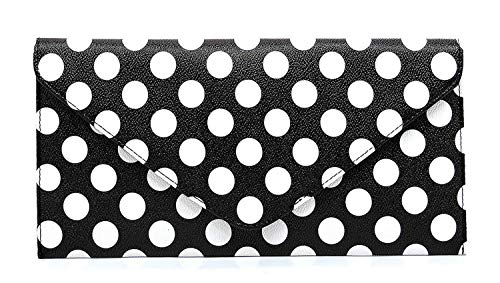 Elphis Patent Vegan Envelope Clutch Handbag Shinny PU Evening Bag (Polka (Polka Dot Purse Handbag)