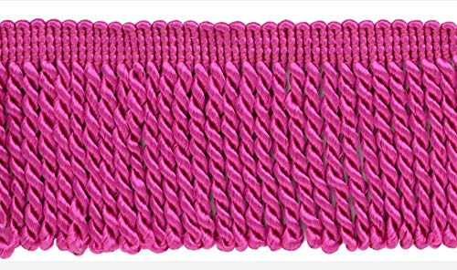 (DÉCOPRO 10 Yard Value Pack of 2.5 Inch Hot Pink Bullion Fringe Trim|Style# EF25|Color: 156 (30 Ft / 9.1 Meters))