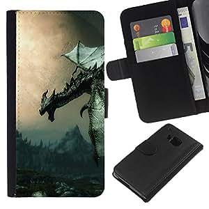 LECELL--Cuero de la tarjeta la carpeta del tirón Smartphone Slots Protección Holder For HTC One M9 -- Antiguo Flying Dragon --