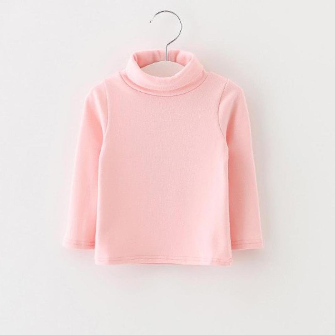 SUNBIBE Cute 0-3 Years Old Baby Girls Boys Basic Long Sleeve Turtle Neck Solid T-Shirt Tops