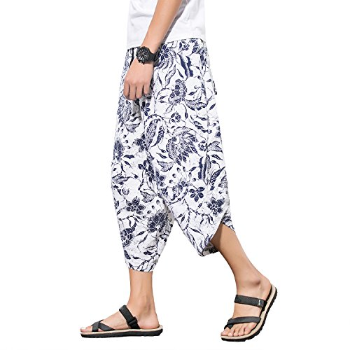e Cotton Hemp Palazzo Harem Pants - Hippie Yoga Trousers Beach Trunks Bohemia Trousers ()
