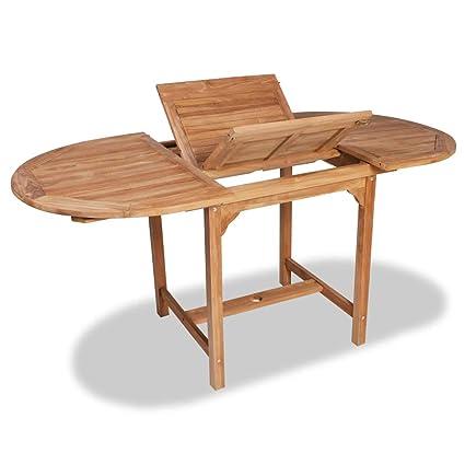 vidaXL Teck Table Extensible à Dîner Jardin Ovale Table d\'Extérieur Terrasse