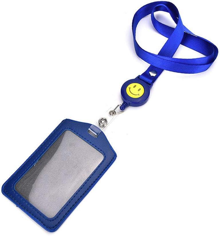 con Cordino in Nylon ECC in Ecopelle Porta Badge Verticale Ufficio 11.2 * 7.5cm Scuola Rot Kentop per Ufficio