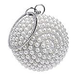 Women's Pearl Beaded Evening Bags Pearl Beads Clutch Bags Handmade Wedding Bags Beige Black