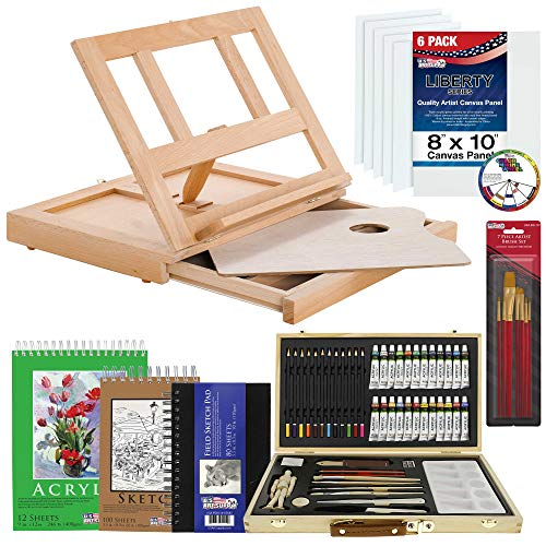 U.S. Art Supply 68-Piece Artist Acrylic Painting Set with, Table Easel, 24-Acrylic, Colored Pencils, Graphite Pencils…