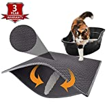 """KAG Cat Litter Mat Litter Trapper Large Size 30"""" X 24"""" - Honeycomb Double-Layer Design Waterproof Urine Proof Material - Easy Clean Scatter Control (Grey)"""