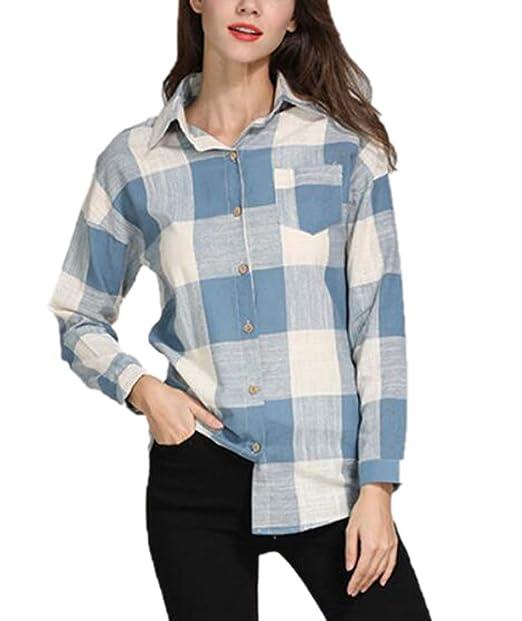 Huateng Camisa a Cuadros de Manga Larga, Blusa con Botones, Blusas