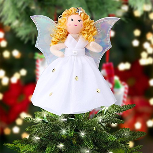 OurWarm Christmas Tree Topper Angel Xmas Tree Topper Unique Design 7 Inch Christmas Trees Ornament Shiny Angel White Dress Holiday Decoration]()