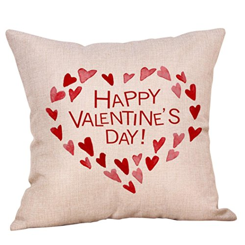 Kimloog Heart Pattern Wreath Valentine's Day Throw Pillowcases Linen Sofa Bed Cae Cushion Cover Decor (B)